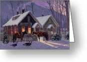 Night Scene Greeting Cards - Guest For Dinner Greeting Card by Randy Follis