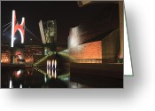 Urbano Greeting Cards - Guggenheim museum at night Greeting Card by Fernando Alvarez