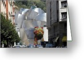Guggenheim Museum Greeting Cards - Guggenhiem 1 Bilboa Spain Greeting Card by Paul Basile