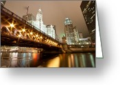 Michigan Avenue Greeting Cards - Guide Me Across The River Greeting Card by Daniel Chen