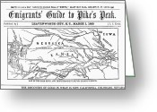 Text Map Photo Greeting Cards - Guide To Pikes Peak, 1859 Greeting Card by Granger