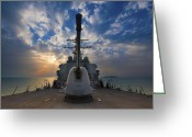 Gun Barrel Greeting Cards - Guided-missile Destroyer Uss Higgins Greeting Card by Stocktrek Images