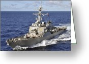 Guided Missile Destroyers Greeting Cards - Guided-missile Destroyer Uss Hopper Greeting Card by Stocktrek Images