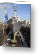 Guided Missile Destroyers Greeting Cards - Guided Missile Destroyer Uss Lassen Greeting Card by Stocktrek Images