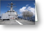 Guided Missile Destroyers Greeting Cards - Guided-missile Destroyer Uss Pinckney Greeting Card by Stocktrek Images