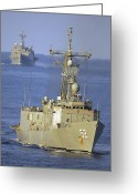 Guided Missile Destroyers Greeting Cards - Guided Missile Frigate Uss Carr Greeting Card by Stocktrek Images