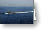 Submarines Greeting Cards - Guided-missile Submarine Uss Georgia Greeting Card by Stocktrek Images