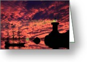 Pirate Ship Greeting Cards - Guiding The Way Greeting Card by Shane Bechler