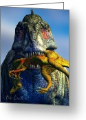 T Rex Greeting Cards - Guilty Pleasure Greeting Card by Bob Orsillo