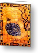 Carolinestreet Greeting Cards - Guinea Fowl Batik Greeting Card by Caroline Street