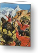 Royalty Greeting Cards - Guiseppe Garibaldi and his army in the battle with the Neopolitan Royal troops Greeting Card by Andrew Howat