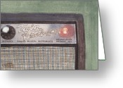 Ken Greeting Cards - Guitar Amp Greeting Card by Ken Powers