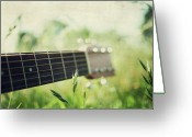 Grass Greeting Cards - Guitar In Country Meadow Greeting Card by Images by Victoria J Baxter