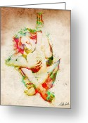 Lovers Embrace Greeting Cards - Guitar Lovers Embrace Greeting Card by Nikki Marie Smith