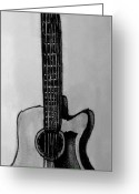 Instruments Drawings Greeting Cards - Guitar Greeting Card by Madelyn May