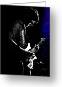 Nightclub Greeting Cards - Guitar Man In Blue Greeting Card by Meirion Matthias
