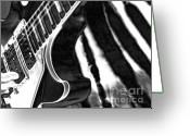 Rock And Roll Greeting Cards - Guitar Zebra Greeting Card by Roxy Riou