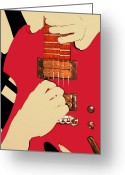 Morph Greeting Cards - Guitarist Hands Greeting Card by Malik  Church