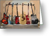 Guitar Greeting Cards - Guitars On A Rack Greeting Card by Arline Wagner