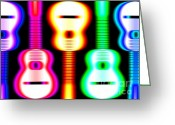 Guitar Greeting Cards - Guitars on Fire 3 Greeting Card by Andy Smy