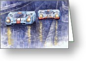 Sport Painting Greeting Cards - Gulf-Porsche 917 K Spa Francorchamps 1970 Greeting Card by Yuriy  Shevchuk