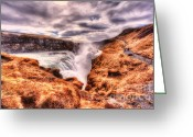 D700 Greeting Cards - Gulfoss Waterfall Iceland 2nd Tier Greeting Card by Jack Torcello