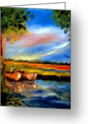 Carolina Painting Greeting Cards - Gullah Lowcountry SC Greeting Card by Phil Burton