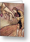 Signed Greeting Cards - Gulliver in Brobdingnag Kissing the Hand of the Queen Greeting Card by Arthur Rackham