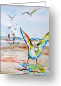 Carlin Greeting Cards - Gulls Greeting Card by Carlin Blahnik