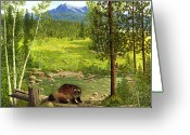 Creeks Greeting Cards - Gulo Gulo - Wolverine Greeting Card by Ellen Strope