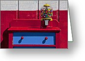 Old Fashion Greeting Cards - Gum ball machine on red desk Greeting Card by Garry Gay