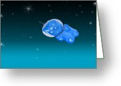 Other World Greeting Cards - Gummy Bear in Space Greeting Card by Jera Sky