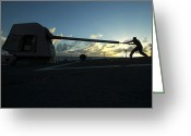 Gun Barrel Greeting Cards - Gunners Mate Cleans The Barrel Greeting Card by Stocktrek Images