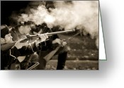 Solider Greeting Cards - Guns N Smoke Greeting Card by Emily Stauring