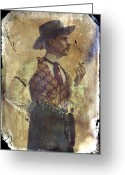 Conversation Greeting Cards - Gunslinger III Doc Holliday in fine attire Greeting Card by Toni Hopper