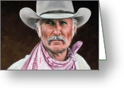 Cowboy Greeting Cards - Gus McCrae Texas Ranger Greeting Card by Rick McKinney