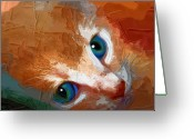Face. Colorful Greeting Cards - Gussy Greeting Card by Holly Ethan