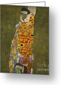 The Kiss Painting Greeting Cards - Gustav Klimt Hope II Greeting Card by Pg Reproductions