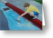Drain Painting Greeting Cards - Gutter Boat Greeting Card by Gene Ritchhart