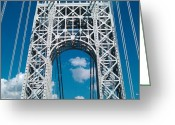 Gw Bridge Greeting Cards - GW up close Greeting Card by Iris Ramirez Reese