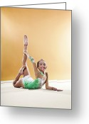 Color Bending Greeting Cards - Gymnast, Smiling, Bending Backwards, Floor, Greeting Card by Emma Innocenti