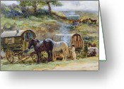 Encampment Greeting Cards - Gypsy Encampment Greeting Card by John Atkinson