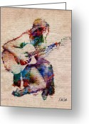 Acoustic Guitar Greeting Cards - Gypsy Serenade Greeting Card by Nikki Marie Smith