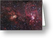H Ii Regions Greeting Cards - H Ii Regions Ngc 3603 And Ngc 3576 Greeting Card by Robert Gendler