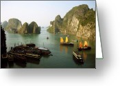 Chic Greeting Cards - Ha Long Bay Greeting Card by Oliver Johnston