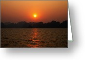 Chic Greeting Cards - Ha Long Bay Sunset 2 Greeting Card by Oliver Johnston