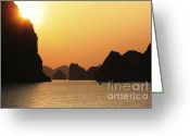 Chuck Kuhn Photography Greeting Cards - Ha Long Bay Sunset IV Greeting Card by Chuck Kuhn