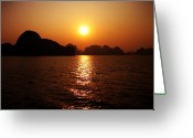 Alluring Greeting Cards - Ha Long Bay Sunset Greeting Card by Oliver Johnston
