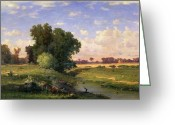 Inness Greeting Cards - Hackensack Meadows - Sunset Greeting Card by George Snr Inness