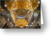 Aya Greeting Cards - Hagia Sophia Byzantine Architecture Greeting Card by Artur Bogacki